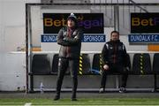 17 April 2021; Dundalk coach Filippo Giovagnoli, left, and Dundalk coach Giuseppi Rossi look on from the dugout during the SSE Airtricity League Premier Division match between Dundalk and St Patrick's Athletic at Oriel Park in Dundalk, Louth. Photo by Stephen McCarthy/Sportsfile
