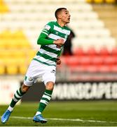 17 April 2021; Graham Burke of Shamrock Rovers after scoring his side's first goal, from a penalty, during the SSE Airtricity League Premier Division match between Shamrock Rovers and Longford Town at Tallaght Stadium in Dublin. Photo by Eóin Noonan/Sportsfile