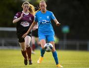 17 April 2021; Niamh Prior of DLR Waves in action against Aoife Thompson of Galway Women during the SSE Airtricity Women's National League match between DLR Waves and Galway Women at UCD Bowl in Belfield, Dublin. Photo by Matt Browne/Sportsfile