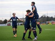 17 April 2021; Sam Bone of St Patrick's Athletic, second right, celebrates with, from left, Matty Smith, Robbie Benson and Lee Desmond after scoring his side's first goal during the SSE Airtricity League Premier Division match between Dundalk and St Patrick's Athletic at Oriel Park in Dundalk, Louth. Photo by Stephen McCarthy/Sportsfile