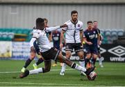 17 April 2021; Junior Ogedi-Uzokwe of Dundalk shoots to score his side's first goal during the SSE Airtricity League Premier Division match between Dundalk and St Patrick's Athletic at Oriel Park in Dundalk, Louth. Photo by Ben McShane/Sportsfile