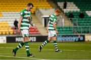 17 April 2021; Sean Kavanagh of Shamrock Rovers, left, and team-mate Rory Gaffney react after a missed goal chance during the SSE Airtricity League Premier Division match between Shamrock Rovers and Longford Town at Tallaght Stadium in Dublin. Photo by Eóin Noonan/Sportsfile