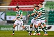 17 April 2021; Sean Gannon of Shamrock Rovers, left, celebrates after scoring his side's second goal during the SSE Airtricity League Premier Division match between Shamrock Rovers and Longford Town at Tallaght Stadium in Dublin. Photo by Eóin Noonan/Sportsfile
