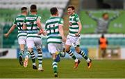 17 April 2021; Sean Gannon of Shamrock Rovers, right, celebrates after scoring his side's second goal during the SSE Airtricity League Premier Division match between Shamrock Rovers and Longford Town at Tallaght Stadium in Dublin. Photo by Eóin Noonan/Sportsfile