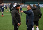 17 April 2021; Dundalk coach Filippo Giovagnoli speaks with St Patrick's Athletic assistant manager Patrick Cregg after the SSE Airtricity League Premier Division match between Dundalk and St Patrick's Athletic at Oriel Park in Dundalk, Louth. Photo by Stephen McCarthy/Sportsfile