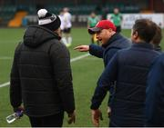 17 April 2021; St Patrick's Athletic head coach Stephen O'Donnell remontrates with Dundalk coach Filippo Giovagnoli after the SSE Airtricity League Premier Division match between Dundalk and St Patrick's Athletic at Oriel Park in Dundalk, Louth. Photo by Stephen McCarthy/Sportsfile