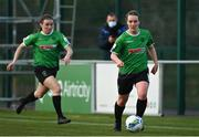 17 April 2021; Lucy McCartan, right, and Dearbhaile Beirke of Peamount United during the SSE Airtricity Women's National League match between Peamount United and Shelbourne at PLR Park in Greenogue, Dublin. Photo by Ramsey Cardy/Sportsfile