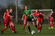 17 April 2021; Claire Walsh of Peamount United in action against Saoirse Noonan, left, and Emily Whelan of Shelbourne during the SSE Airtricity Women's National League match between Peamount United and Shelbourne at PLR Park in Greenogue, Dublin. Photo by Ramsey Cardy/Sportsfile