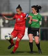 17 April 2021; Pearl Slattery of Shelbourne in action against Della Doherty of Peamount United during the SSE Airtricity Women's National League match between Peamount United and Shelbourne at PLR Park in Greenogue, Dublin. Photo by Ramsey Cardy/Sportsfile