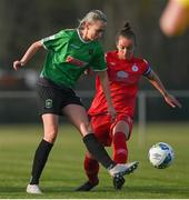 17 April 2021; Stephanie Roche of Peamount United in action against Pearl Slattery of Shelbourne during the SSE Airtricity Women's National League match between Peamount United and Shelbourne at PLR Park in Greenogue, Dublin. Photo by Ramsey Cardy/Sportsfile