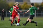 17 April 2021; Saoirse Noonan of Shelbourne in action against Dearbhaile Beirke of Peamount United during the SSE Airtricity Women's National League match between Peamount United and Shelbourne at PLR Park in Greenogue, Dublin. Photo by Ramsey Cardy/Sportsfile