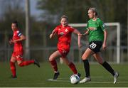 17 April 2021; Stephanie Roche of Peamount United in action against Jessie Stapleton of Shelbourne during the SSE Airtricity Women's National League match between Peamount United and Shelbourne at PLR Park in Greenogue, Dublin. Photo by Ramsey Cardy/Sportsfile