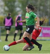17 April 2021; Tiegan Ruddy of Peamount United is tackled by Ciara Grant of Shelbourne during the SSE Airtricity Women's National League match between Peamount United and Shelbourne at PLR Park in Greenogue, Dublin. Photo by Ramsey Cardy/Sportsfile