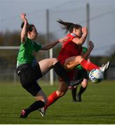 17 April 2021; Karen Duggan of Peamount United in action against Emily Whelan of Shelbourne during the SSE Airtricity Women's National League match between Peamount United and Shelbourne at PLR Park in Greenogue, Dublin. Photo by Ramsey Cardy/Sportsfile
