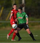 17 April 2021; Lucy McCartan of Peamount United in action against Mia Dodd of Shelbourne  during the SSE Airtricity Women's National League match between Peamount United and Shelbourne at PLR Park in Greenogue, Dublin. Photo by Ramsey Cardy/Sportsfile