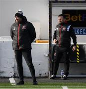 17 April 2021; Dundalk coach Filippo Giovagnoli and coach Giuseppi Rossi, right, during the SSE Airtricity League Premier Division match between Dundalk and St Patrick's Athletic at Oriel Park in Dundalk, Louth. Photo by Stephen McCarthy/Sportsfile