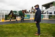 18 April 2021; Trainer Henry de Bromhead with Minella Times, winner of the Aintree Grand National, in the parade ring at Tramore Racecourse in Waterford. Photo by Harry Murphy/Sportsfile