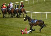 18 April 2021; Shamrockembassador unmounts jockey Aidan Kelly for a third time before being withdrawn from the Adare Manor Opportunity Maiden Hurdle at Tramore Racecourse in Waterford. Photo by Harry Murphy/Sportsfile