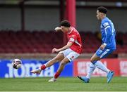 17 April 2021; Jordan Gibson of Sligo Rovers shoots as Will Seymore of Finn Harps closes in during the SSE Airtricity League Premier Division match between Sligo Rovers and Finn Harps at The Showgrounds in Sligo. Photo by Piaras Ó Mídheach/Sportsfile