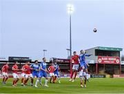 17 April 2021; Sean Boyd of Finn Harps contests a header against Johnny Kenny of Sligo Rovers during the SSE Airtricity League Premier Division match between Sligo Rovers and Finn Harps at The Showgrounds in Sligo. Photo by Piaras Ó Mídheach/Sportsfile