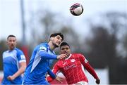 17 April 2021; Kosovar Sadiki of Finn Harps in action against Ryan De Vries of Sligo Rovers during the SSE Airtricity League Premier Division match between Sligo Rovers and Finn Harps at The Showgrounds in Sligo. Photo by Piaras Ó Mídheach/Sportsfile
