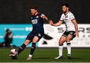 17 April 2021; Sam Bone of St Patrick's Athletic and Patrick Hoban of Dundalk during the SSE Airtricity League Premier Division match between Dundalk and St Patrick's Athletic at Oriel Park in Dundalk, Louth. Photo by Ben McShane/Sportsfile