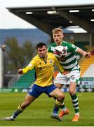 17 April 2021; Karl Chambers of Longford Town in action against Liam Scales of Shamrock Rovers during the SSE Airtricity League Premier Division match between Shamrock Rovers and Longford Town at Tallaght Stadium in Dublin. Photo by Eóin Noonan/Sportsfile