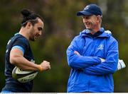 19 April 2021; Head coach Leo Cullen with James Lowe, left, during Leinster rugby squad training at UCD in Dublin. Photo by Brendan Moran/Sportsfile