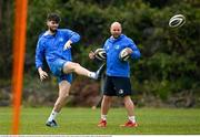 19 April 2021; Harry Byrne with kicking coach and lead performance analyst Emmet Farrell during Leinster rugby squad training at UCD in Dublin. Photo by Brendan Moran/Sportsfile