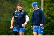 19 April 2021; Tadhg Furlong, left, and Jonathan Sexton arrive for Leinster rugby squad training at UCD in Dublin. Photo by Brendan Moran/Sportsfile