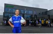 19 April 2021; Combilift, a leading global player in the field of materials handling, is also now getting involved on the sports field at a much more local level. The company has committed to a new 3-year sponsorship deal with the Monaghan Ladies football team as well as sponsoring the Monaghan senior club championship. The Combilift logo will now be prominent on both home and away jerseys, as well as all items of the team's training gear. Combilift will support the Monaghan LGFA teams both on and off the field, and at all levels from juveniles right through to seniors. In attendance at the launch at Combilift are Monaghan players, from left, xxxx. Photo by Philip Fitzpatrick/Sportsfile ***NO REPRODUCTION FEE***