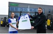 19 April 2021; Combilift, a leading global player in the field of materials handling, is also now getting involved on the sports field at a much more local level. The company has committed to a new 3-year sponsorship deal with the Monaghan Ladies football team as well as sponsoring the Monaghan senior club championship. The Combilift logo will now be prominent on both home and away jerseys, as well as all items of the team's training gear. Combilift will support the Monaghan LGFA teams both on and off the field, and at all levels from juveniles right through to seniors. In attendance at the launch at Combilift is Martin Mc Vicar, CEO Combilift with Monaghan footballer Rosie Courtney. Photo by Philip Fitzpatrick/Sportsfile