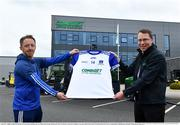 19 April 2021; Combilift, a leading global player in the field of materials handling, is also now getting involved on the sports field at a much more local level. The company has committed to a new 3-year sponsorship deal with the Monaghan Ladies football team as well as sponsoring the Monaghan senior club championship. The Combilift logo will now be prominent on both home and away jerseys, as well as all items of the team's training gear. Combilift will support the Monaghan LGFA teams both on and off the field, and at all levels from juveniles right through to seniors. In attendance at the launch at Combilift are Monaghan manager Ciarán Murphy, left, and Martin Mc Vicar, CEO of Combilift. Photo by Philip Fitzpatrick/Sportsfile