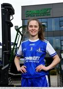 19 April 2021; Combilift, a leading global player in the field of materials handling, is also now getting involved on the sports field at a much more local level. The company has committed to a new 3-year sponsorship deal with the Monaghan Ladies football team as well as sponsoring the Monaghan senior club championship. The Combilift logo will now be prominent on both home and away jerseys, as well as all items of the team's training gear. Combilift will support the Monaghan LGFA teams both on and off the field, and at all levels from juveniles right through to seniors. In attendance at the launch at Combilift is Monaghan player Amy Garland. Photo by Philip Fitzpatrick/Sportsfile