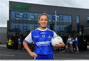 19 April 2021; Combilift, a leading global player in the field of materials handling, is also now getting involved on the sports field at a much more local level. The company has committed to a new 3-year sponsorship deal with the Monaghan Ladies football team as well as sponsoring the Monaghan senior club championship. The Combilift logo will now be prominent on both home and away jerseys, as well as all items of the team's training gear. Combilift will support the Monaghan LGFA teams both on and off the field, and at all levels from juveniles right through to seniors. In attendance at the launch at Combilift is Monaghan player Ciara McAnespie. Photo by Philip Fitzpatrick/Sportsfile