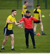 19 April 2021; Manager Mickey Harte with Matt Coughran during senior football squad training at the Louth GAA Centre of Excellence in Louth. Following approval from the GAA and the Irish Government, the GAA released its safe return to play protocols, allowing full contact inter-county training at adult level can re-commence from April 19th. Photo by Ramsey Cardy/Sportsfile