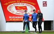 20 April 2021; Waterford goalkeepers Paul Martin, left, and Matthew Connor, centre, with goalkeeping coach Dirk Heinen prior to the SSE Airtricity League Premier Division match between St Patrick's Athletic and Waterford at Richmond Park in Dublin. Photo by Harry Murphy/Sportsfile