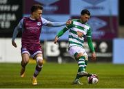 20 April 2021; Danny Mandroiu of Shamrock Rovers in action against Darragh Markey of Drogheda United during the SSE Airtricity League Premier Division match between Drogheda United and Shamrock Rovers at United Park in Drogheda, Louth. Photo by Ben McShane/Sportsfile