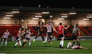 20 April 2021; Dundalk players, from left, Wilfred Zahibo, Ole Erik Midtskogen and Chris Shields in action against Ronan Boyce of Derry City during the SSE Airtricity League Premier Division match between Derry City and Dundalk at the Ryan McBride Brandywell Stadium in Derry. Photo by Stephen McCarthy/Sportsfile