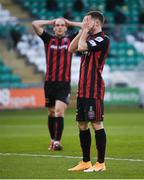 23 April 2021; Liam Burt of Bohemians reacts after a missed opportunity on goal alongside team-mate Georgie Kelly, left, during the SSE Airtricity League Premier Division match between Shamrock Rovers and Bohemians at Tallaght Stadium in Dublin. Photo by Stephen McCarthy/Sportsfile