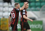 23 April 2021; Keith Ward of Bohemians congratulates team-mate Ross Tierney after he scored their side's first goal during the SSE Airtricity League Premier Division match between Shamrock Rovers and Bohemians at Tallaght Stadium in Dublin. Photo by Stephen McCarthy/Sportsfile