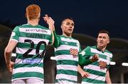 23 April 2021; Graham Burke of Shamrock Rovers celebrates with team-mate Rory Gaffney, 20, after scoring his side's second goal, a penalty, during the SSE Airtricity League Premier Division match between Shamrock Rovers and Bohemians at Tallaght Stadium in Dublin. Photo by Stephen McCarthy/Sportsfile