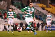 23 April 2021; Graham Burke of Shamrock Rovers shoots to score his side's second goal, a penalty, during the SSE Airtricity League Premier Division match between Shamrock Rovers and Bohemians at Tallaght Stadium in Dublin. Photo by Stephen McCarthy/Sportsfile