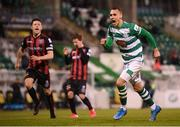 23 April 2021; Graham Burke of Shamrock Rovers celebrates after scoring his side's second goal, a penalty, during the SSE Airtricity League Premier Division match between Shamrock Rovers and Bohemians at Tallaght Stadium in Dublin. Photo by Stephen McCarthy/Sportsfile