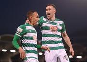 23 April 2021; Graham Burke of Shamrock Rovers celebrates after scoring his side's second goal with team-mate Aaron Greene, right, during the SSE Airtricity League Premier Division match between Shamrock Rovers and Bohemians at Tallaght Stadium in Dublin. Photo by Stephen McCarthy/Sportsfile
