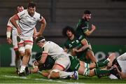23 April 2021; Ultan Dillane of Connacht dives short of the try line, under pressure from Matty Rea, left, and Ross Kane of Ulster during the Guinness PRO14 Rainbow Cup match between Ulster and Connacht at the Kingspan Stadium in Belfast. Photo by David Fitzgerald/Sportsfile