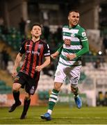 23 April 2021; Graham Burke of Shamrock Rovers celebrates after scoring his side's second goal, from a penalty, during the SSE Airtricity League Premier Division match between Shamrock Rovers and Bohemians at Tallaght Stadium in Dublin. Photo by Stephen McCarthy/Sportsfile