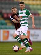 23 April 2021; Dylan Watts of Shamrock Rovers in action against Keith Ward of Bohemians during the SSE Airtricity League Premier Division match between Shamrock Rovers and Bohemians at Tallaght Stadium in Dublin. Photo by Stephen McCarthy/Sportsfile