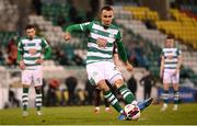 23 April 2021; Graham Burke of Shamrock Rovers shoots to score his side's second goal, from a penalty, during the SSE Airtricity League Premier Division match between Shamrock Rovers and Bohemians at Tallaght Stadium in Dublin. Photo by Stephen McCarthy/Sportsfile