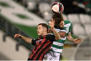 23 April 2021; Sean Gannon of Shamrock Rovers in action against Liam Burt of Bohemians during the SSE Airtricity League Premier Division match between Shamrock Rovers and Bohemians at Tallaght Stadium in Dublin. Photo by Stephen McCarthy/Sportsfile